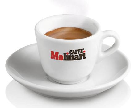 Hot Coffee In A Caffe Molinari Cup